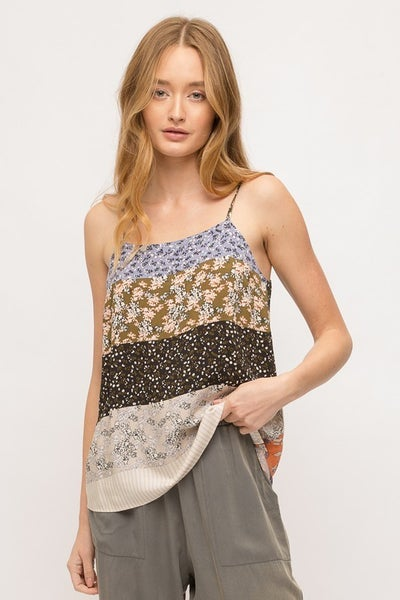 Mix Print Cami with Adjustable Strap
