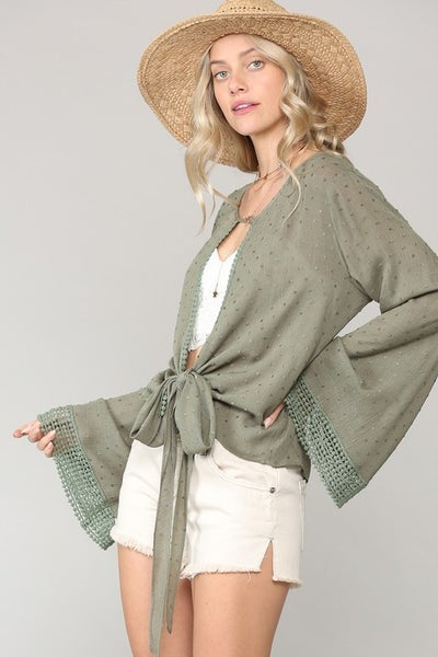 Tie-Front Kimono with Bell Sleeves