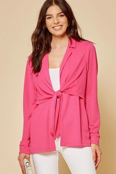 Pink Knit Blazer with Front Tie