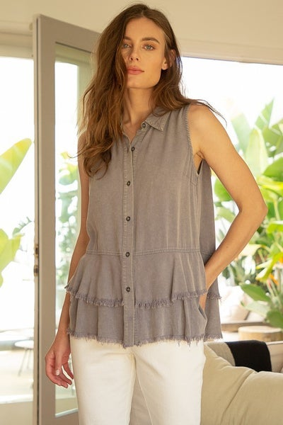 Stone Grey Frayed Hem Sleeveless Ruffle Top