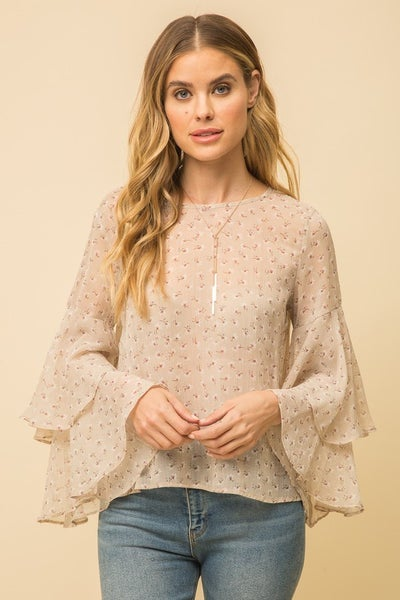 Taupe Layered Sleeve Print Blouse