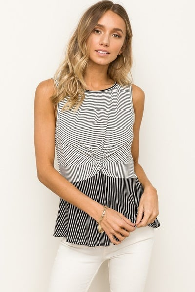 Twist Front Stripe Sleeveless Top
