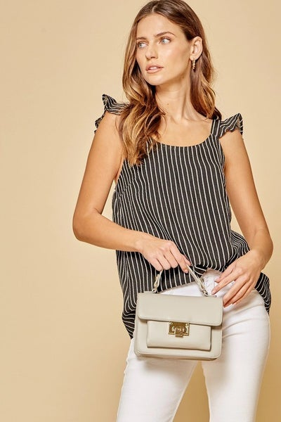 Black and White Stripe Cami Top