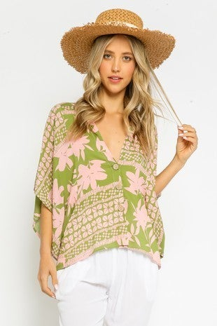 Pink and Lime V-Neck Button Up with Dolman Sleeve
