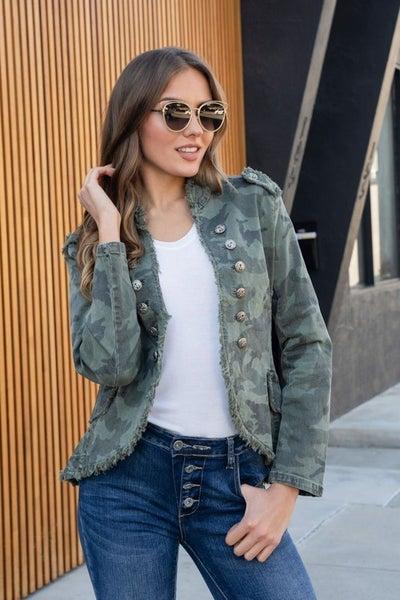 Camouflage Fringe Denim Jacket