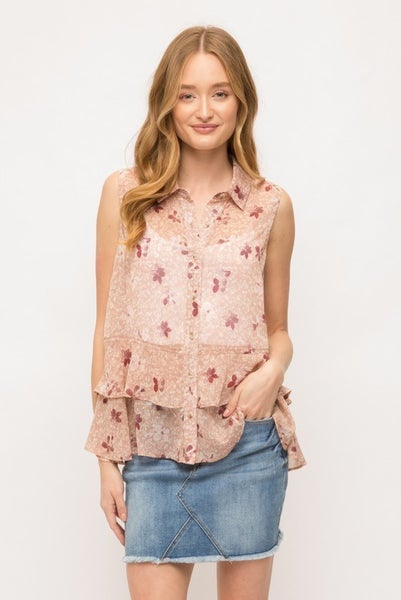 Mauve Sleeveless Double Ruffle Hem Floral Top