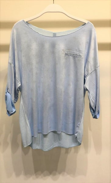 Stars Shimmer Roll-Up Sleeve Top - Sky Blue