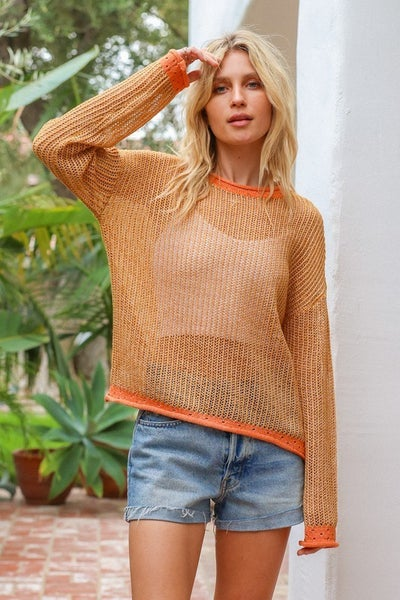 Two-Tone Thread Neck & Bottom Sweater - Apricot