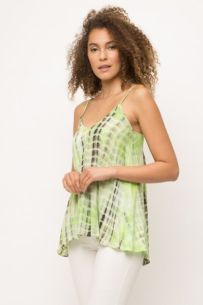 LIme Green Tie Dye Swing Tank
