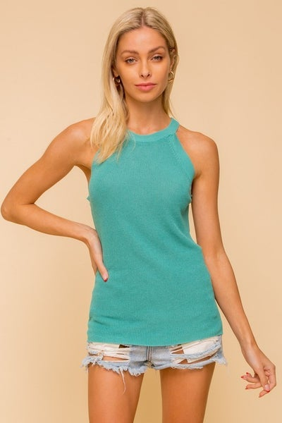 Raglan Sweater Tank Top - Aqua