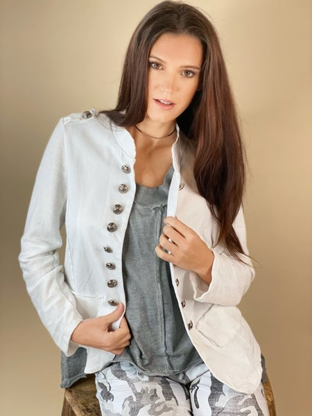 White Military Jacket with Textured Sleeve