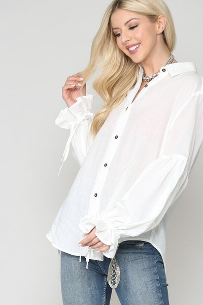 White Button Down Tie Sleeves