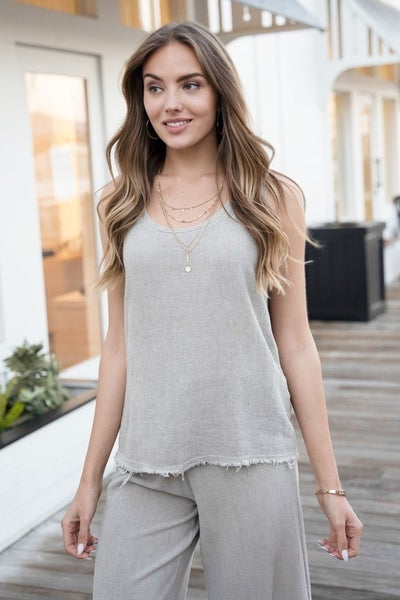 Rugged Hem Cotton Linen Gauze Tank Top - Mocha