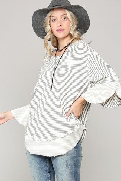 French Terry Striped Casual Top