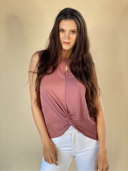 Twisted Front Knit Top-Mauve