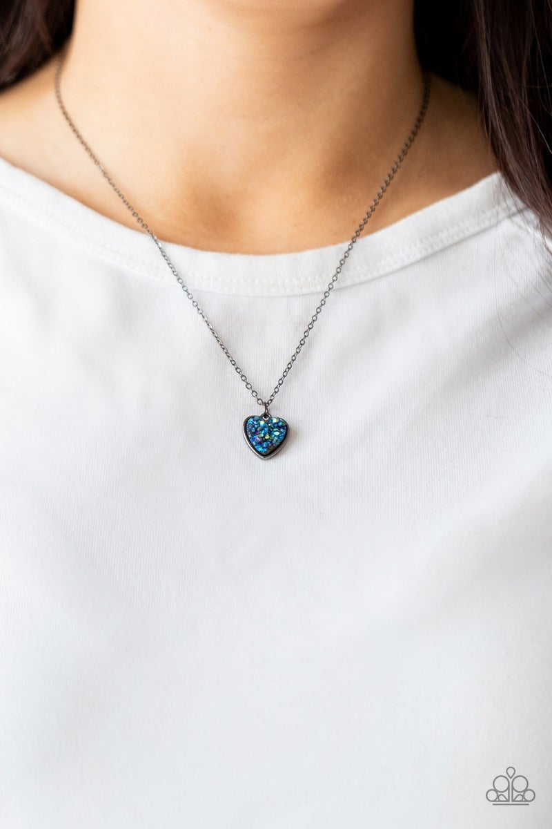 Pitter-Patter, Goes My Heart Blue Necklace - PREORDER