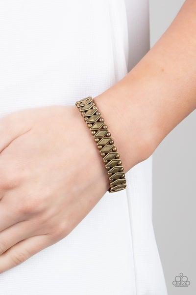 Abstract Advisory Brass Bracelet