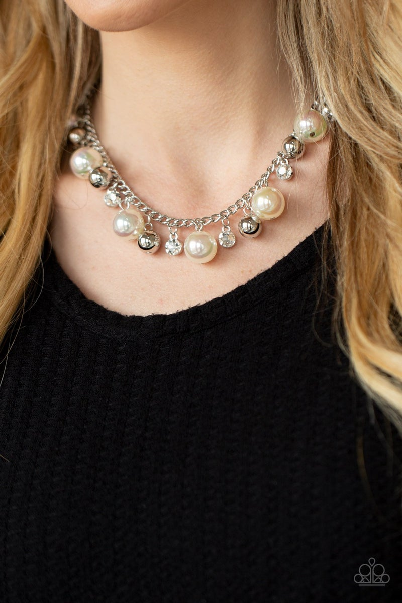 Galactic Gala Iridescent White Pearl Necklace