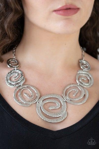 Statement Swirl Silver Necklace
