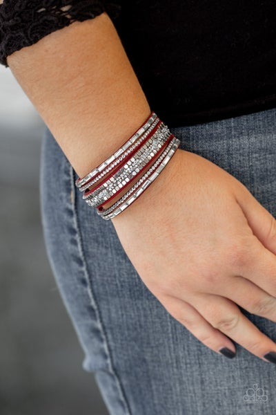 Rebel in Rhinestones Red Urban Bracelet