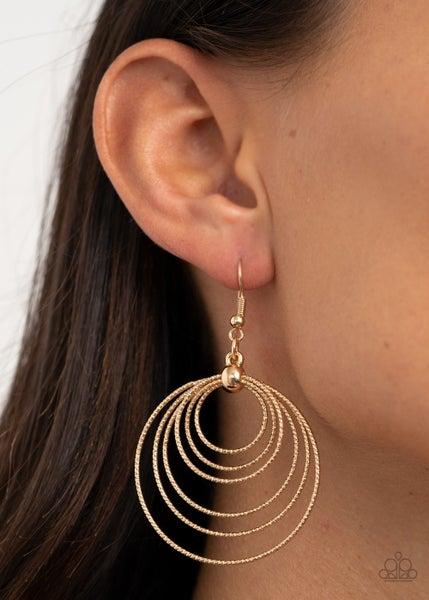 Elliptical Elegance Gold Earring