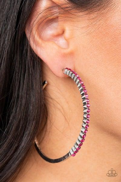 Making Rounds Pink Hoop Earring