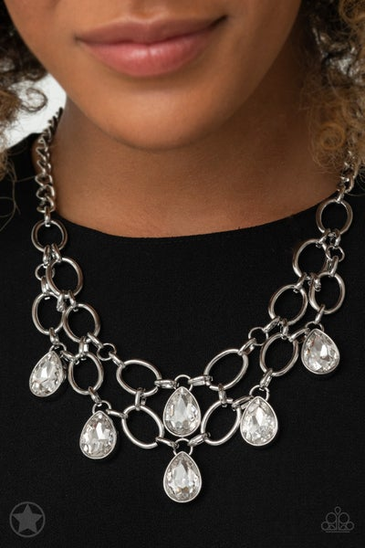 Show-Stopping Shimmer White Necklace - Sparkle with Suzanna