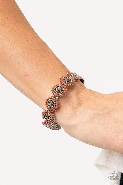 Bohemian Flowerbed Orange Bracelet
