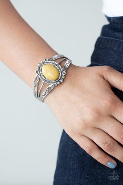 Very TERRA-torial Yellow Bracelet