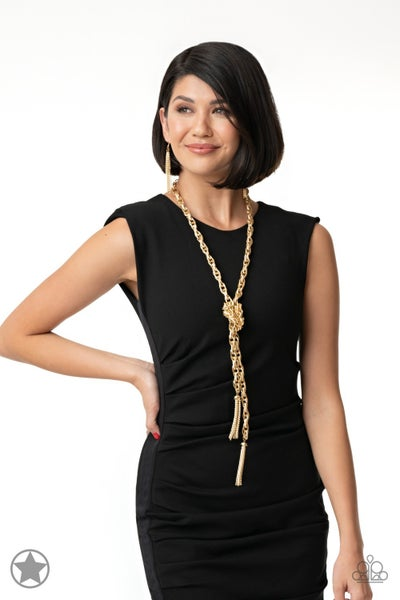 SCARFed for Attention Gold Blockbuster Necklace - Sparkle with Suzanna