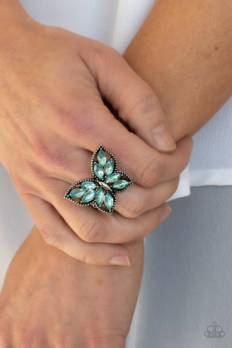 Fluttering Fashionista Blue Ring - Sparkle with Suzanna