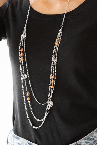 Pretty Pop-tastic - Orange Necklace