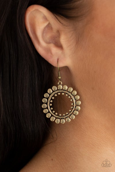 Radiating Radiance Brass Earrings