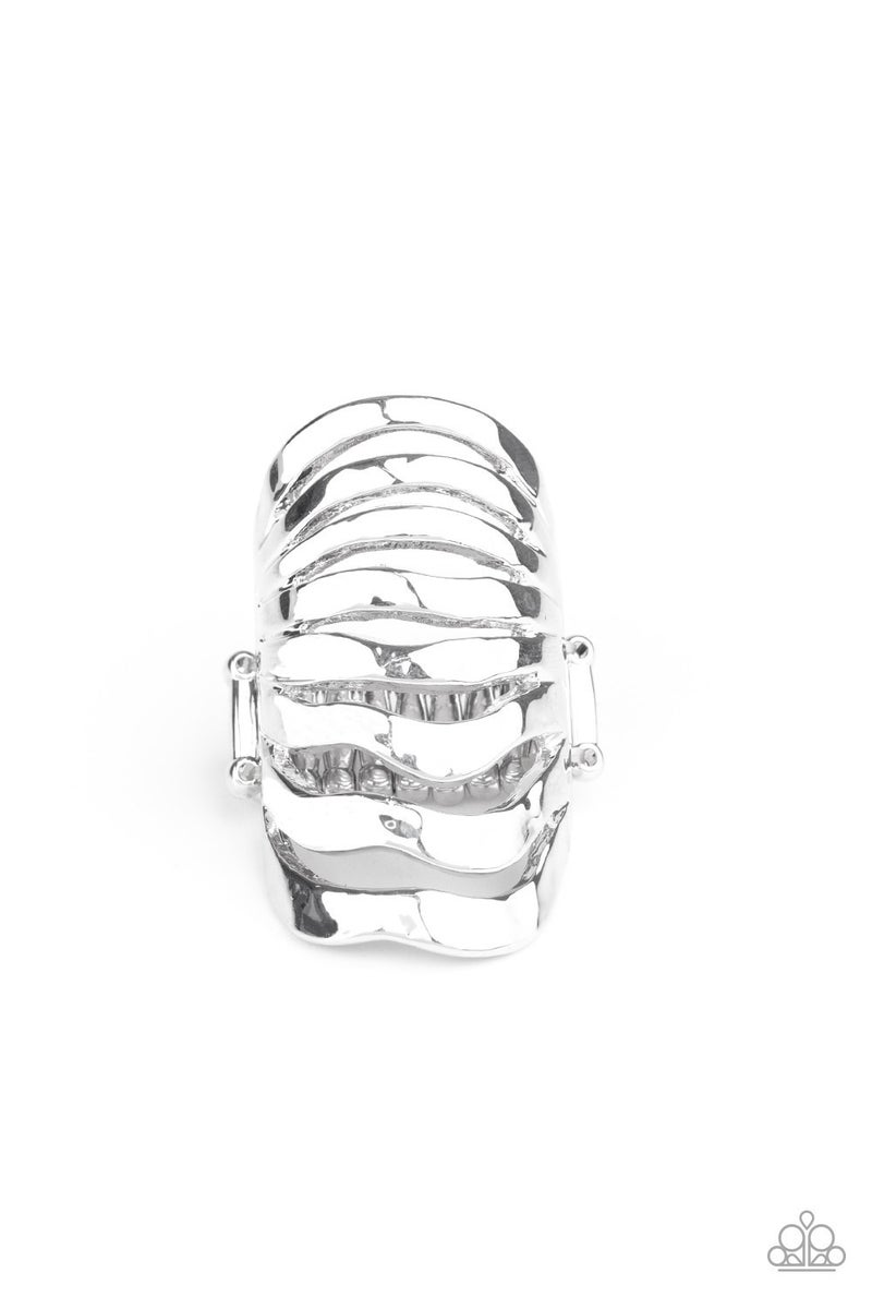Sound Waves Silver Ring