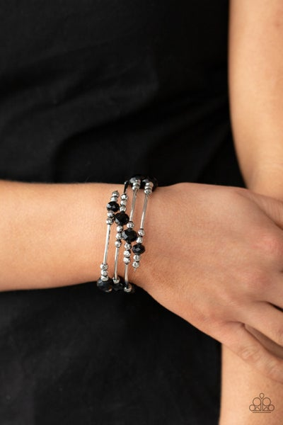 Showy Shimmer Black Bracelet