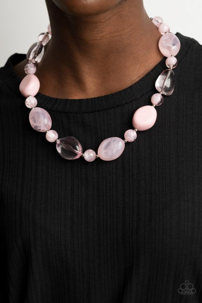 Staycation Stunner Pink  Necklace