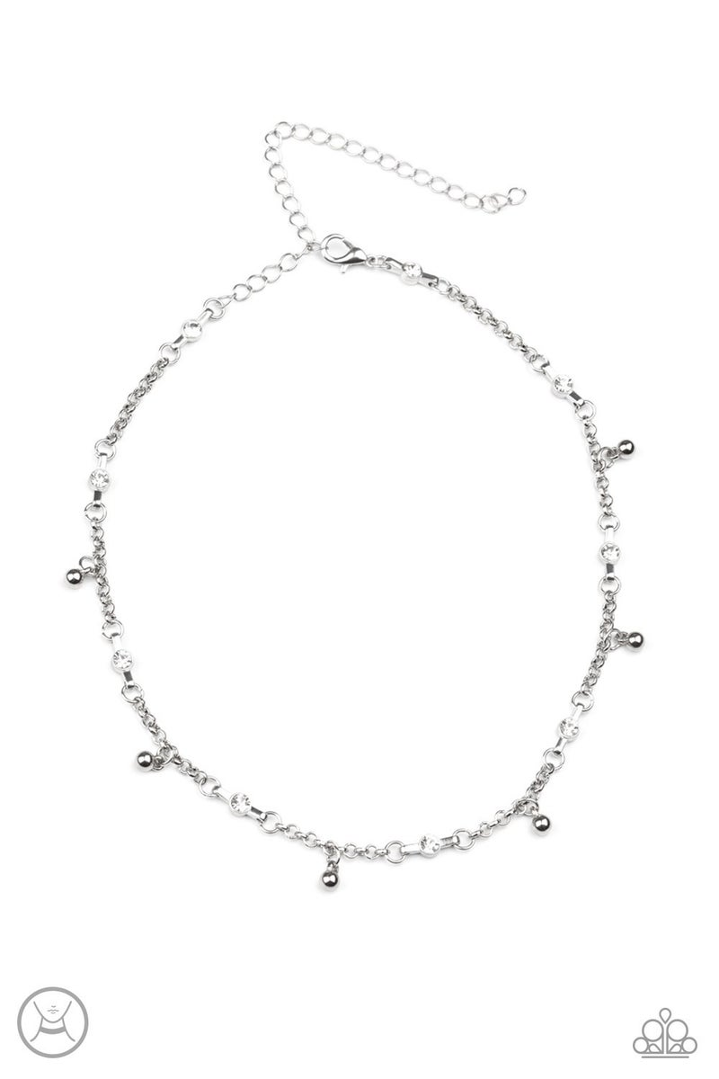 What a Stunner White Choker Necklace - Sparkle with Suzanna