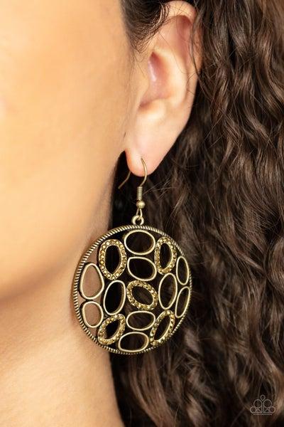 Watch Me OVAL Brass Earring