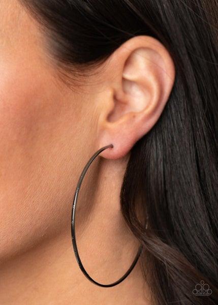 Very Curvaceous Black Hoop Earring
