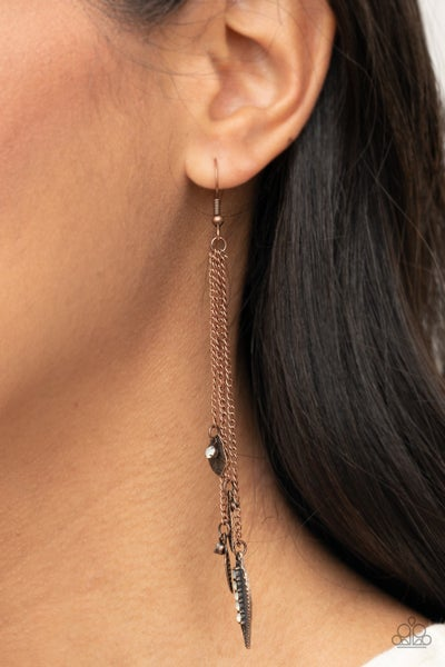 Chiming Leaflets Copper Earrings - PREORDER