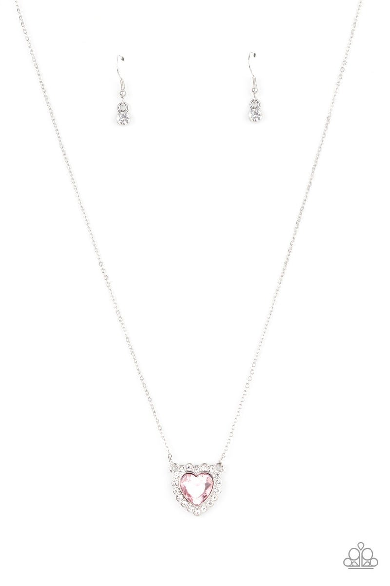 Out the Glittery-ness of Your Heart Pink Necklace