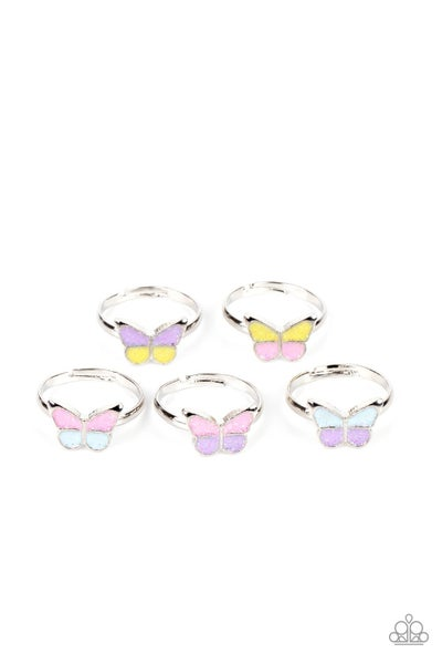 Starlet Shimmer Sparkly Butterfly Rings - 5 Pack