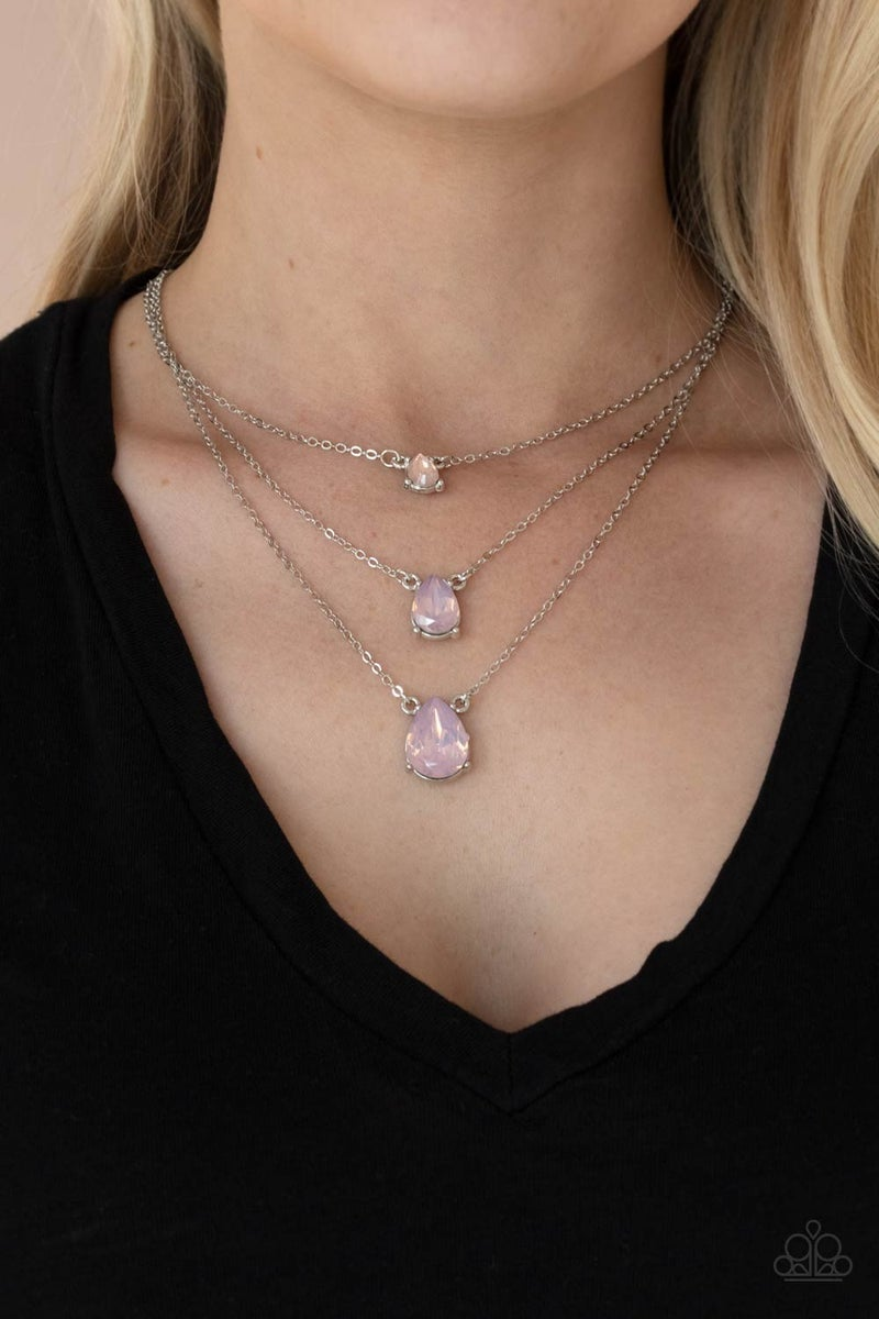 Dewy Drizzle Pink Necklace