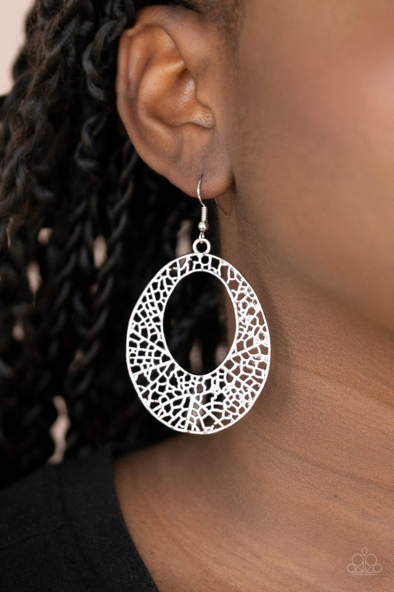 Serenely Shattered Silver Earring