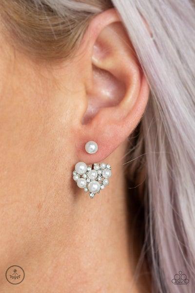 Star-Studded Success White Post -Jacket Earring