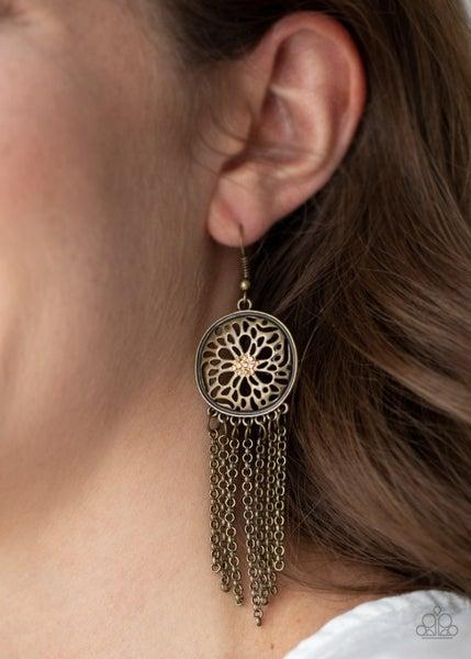Blissfully Botanical Brass Earring