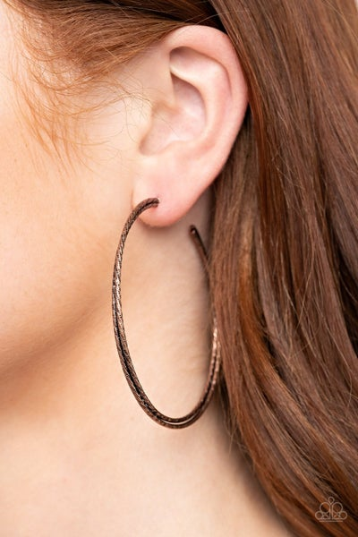 Curved Couture Copper Hoop Earring