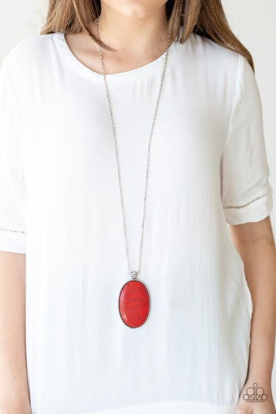 Stone Stampede Red Necklace