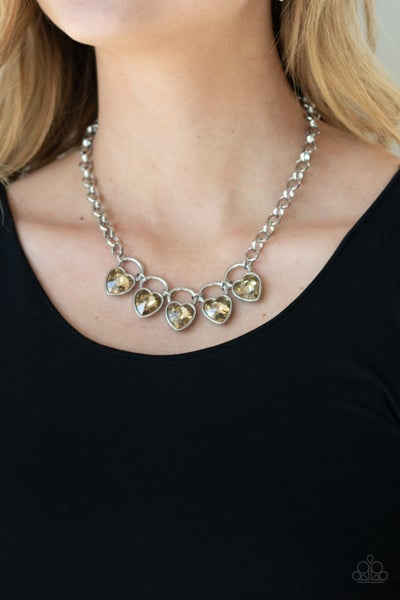 Heart on Your Heels Brown Necklace