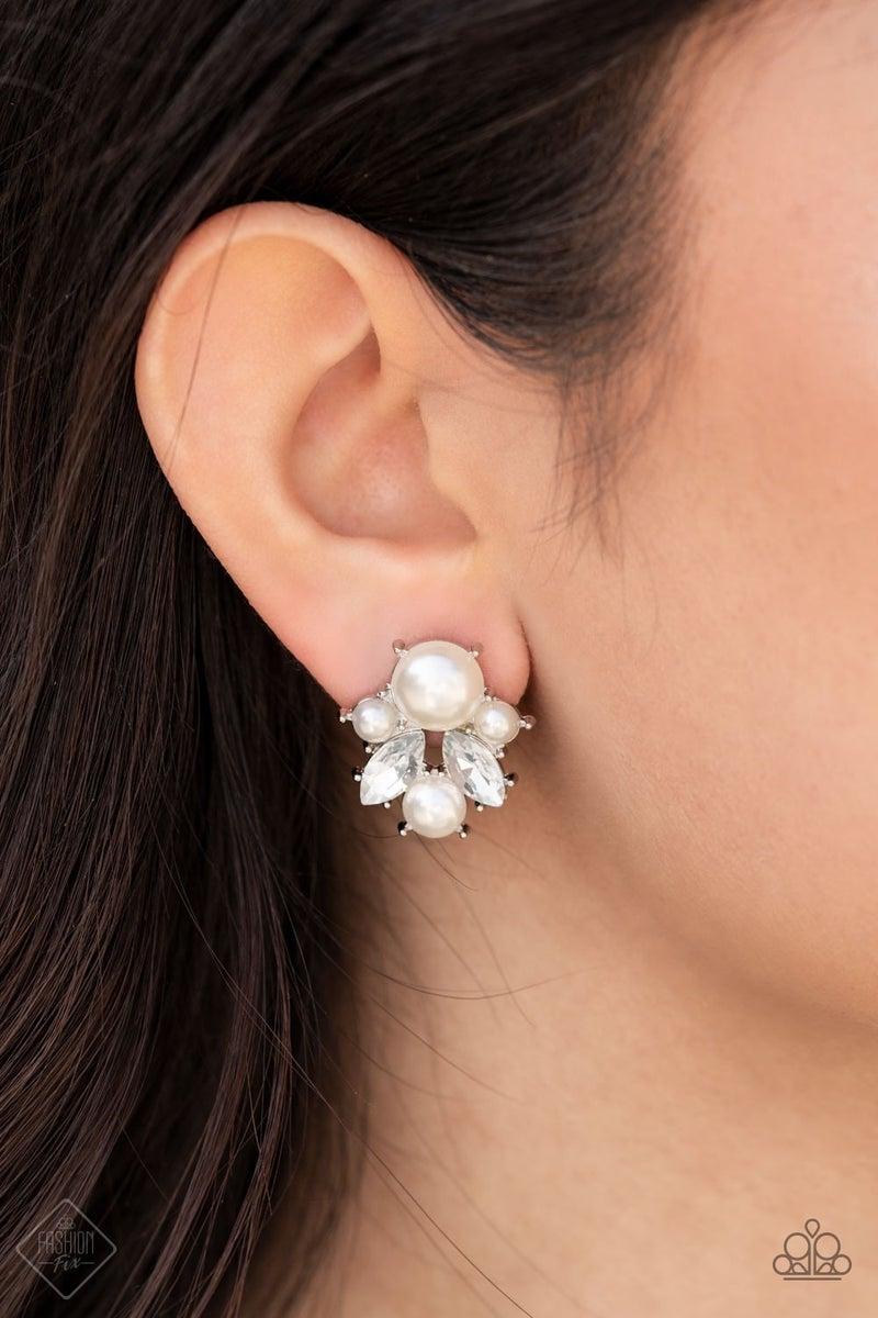 Royal Reverie White Post Earring -Fashion Fix